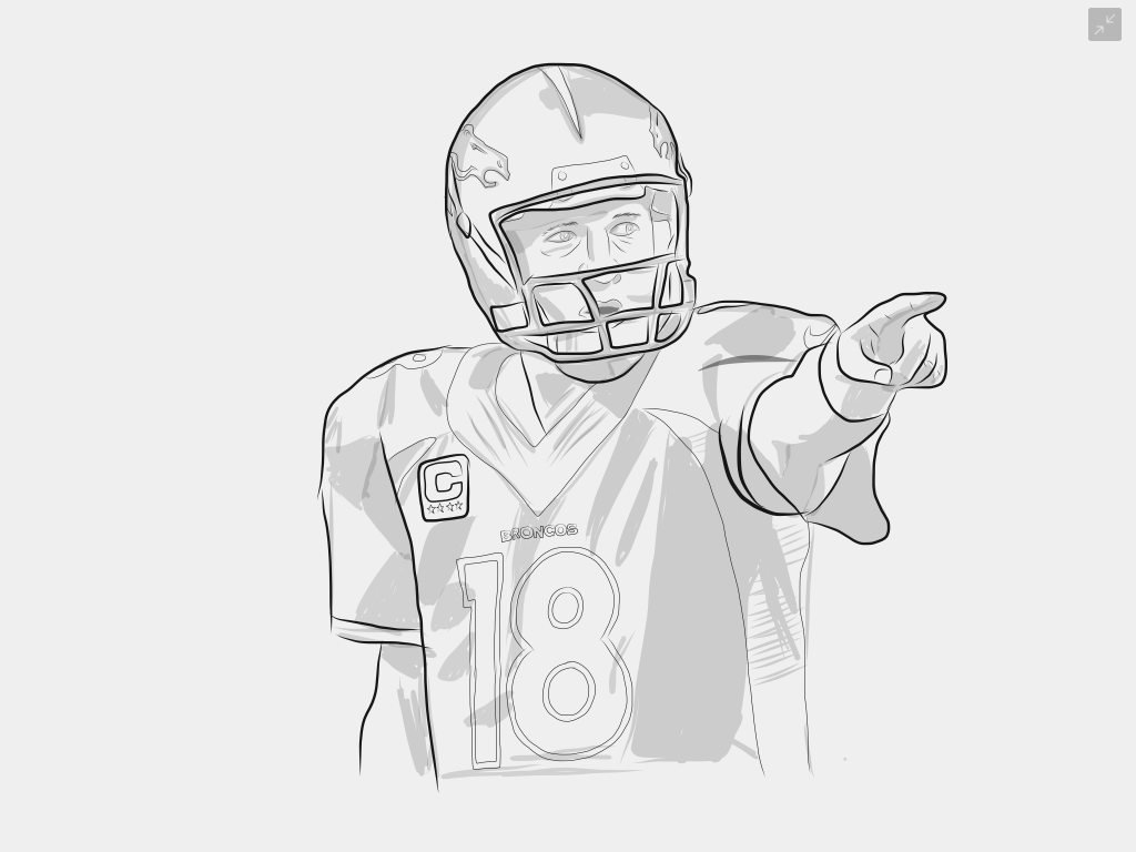 Uncategorized Peyton Manning Coloring Pages peyton manning illustration jay weight 1 outline 2 shading 3 coloring